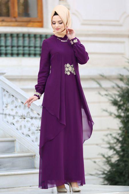 adc51fdfd469c Nayla Collection - Beli Dantel Detaylı Mor Tesettür Abiye Elbise 52546MOR
