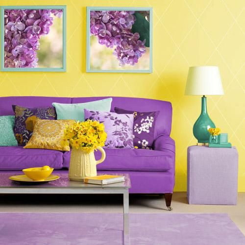 Matching Colors of Wall Paint, Wallpaper Patterns and Existing Home Furnishings ..vibrant purple and yellow room