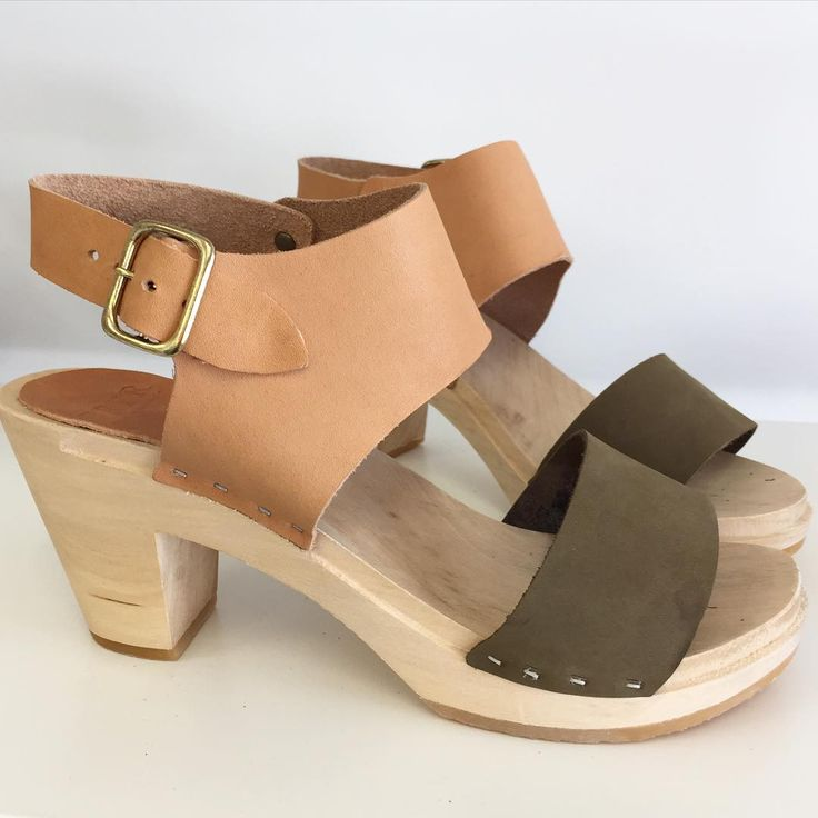 Love the Indian Summer boho vibe of this miranda combo in saddle and olive nubuck. #handmade in #sanfrancisco #clogs