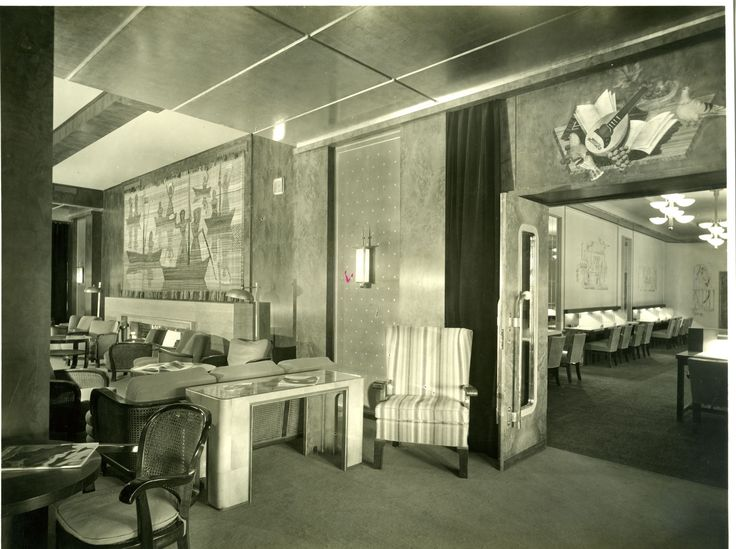 Conte di Savoia - First class Main Lounge (painting by Severini - tapestry by Campigli).