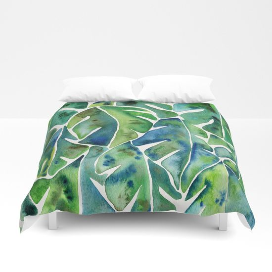 Split Leaf Philodendron – Green Duvet Cover