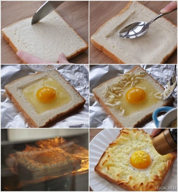 Just When I Thought I'd Seen Every Way To Do Eggs And Toast. YUM. 1. Lightly cut the surface in a square shape 2. Indent the surface area inside the incision with a spoon (softly but firmly) 3. Pour egg into indent made with spoon in step 2 4. Sprinkle cheese onto surface of egg white 5. Broil at 400 degrees until golden brown on edges and cheese has melted 6. Garnish with pepper as desired
