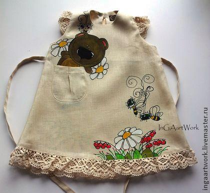 Льняное детское платье. Ручная роспись. Размер 82 - серый,льняное платье