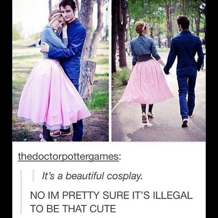 It's a beautiful cosplay NO IM PRETTY SURE ITS ILLEGAL TO VE THAT CUTE! | Rose and Ten Cosplay. Rose cosplayer wearing the 1953 pink skirt outfit and Ten cosplayer wearing his blue suit | Doctor Who Cosplay