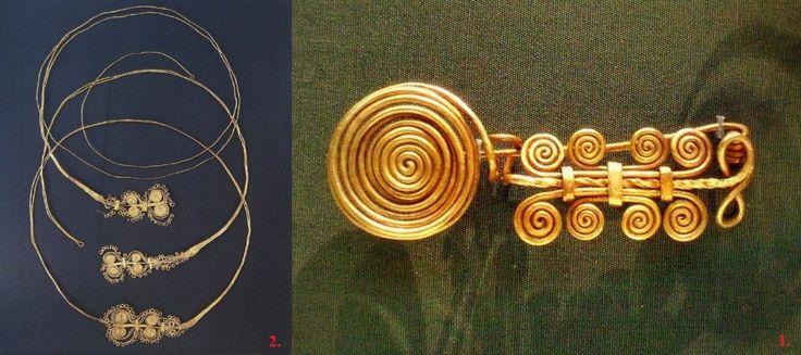 7. kép) Arany nyakékek és paszományos fibula