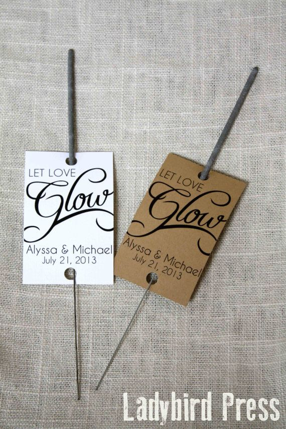 Personalized Printable Wedding Favor Sparkler Tag - PDF - DIY - Glow
