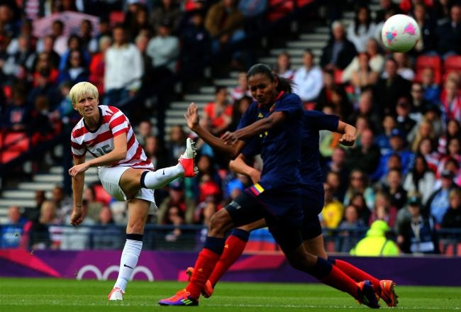 Rapinoe goal vs. Colombia, July 28, 2012. (Stanley Chou/Getty Images)