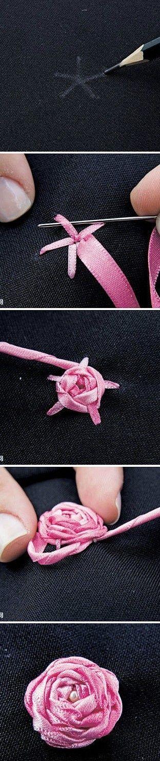 DIY adorno bolso - Cómo hacer rosas de cinta