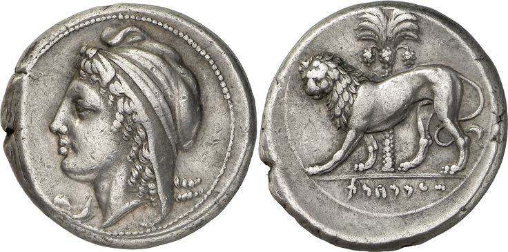 The Prospero Collection of Ancient Greek Coins. SICULO-PUNIC. Siculo-Punic (c.360 B.C.), Silver Tetradrachm, 17.04g, . Female head (Tanit / Dido?) facing to left, wearing an oriental tiara with a neck flap, long locks of curling hair flow out the side and behind. Rev. Punic inscription (S'MMHNT) in the exergue, a lion walking to left, its head facing, a palm-tree in the background Of exceptional classical style.