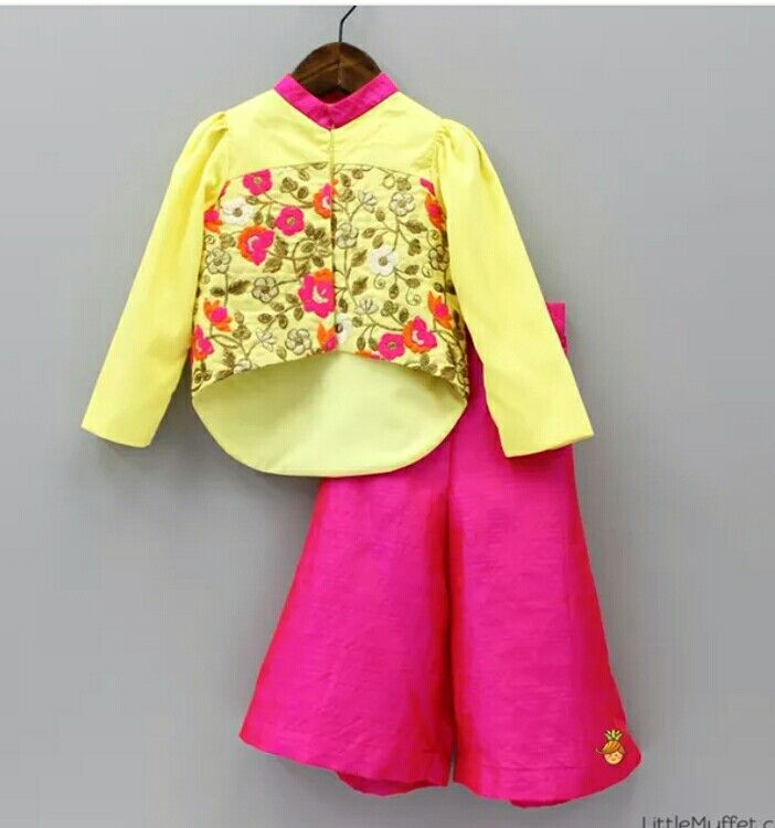 Kids clothing. Girl yellow top with pink Palazzo by little muffet