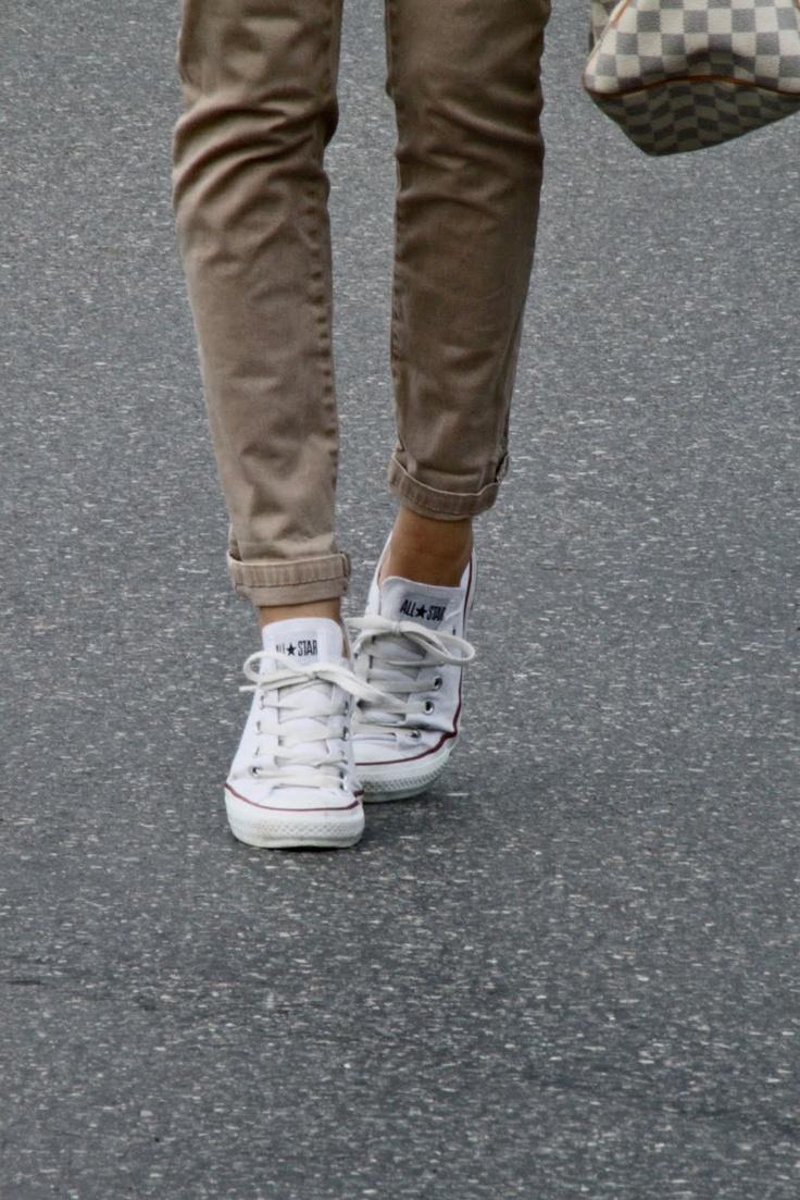 khaki & white chucks
