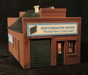HO Scale Auto Repair Shop - Rick's Radiator Repair • Built Up & Lighted Building  | eBay