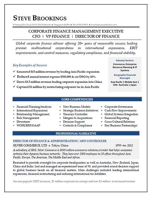 cfo resume sample vice president of finance director of finance resume sample - Cfo Resume Sample