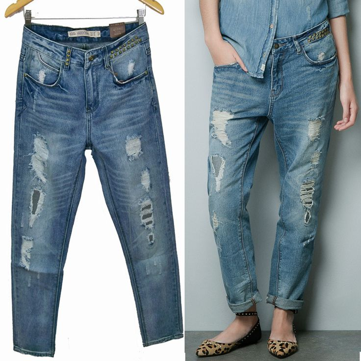 Cheap jean pents, Buy Quality jeans denim pants directly from China pants hoodie Suppliers:  2015 Summer NEW TRF ZA Vintage Denim Jeans Women tomboy Loose Ripped Washed Pants With Rivets Pockets Female Trousers p