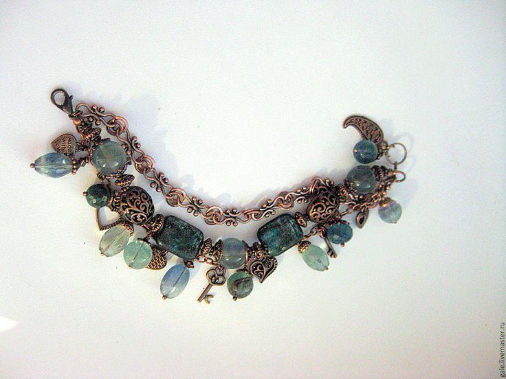 Купить Браслет Ундина - медный, оригинальный браслет, браслет с камнями, зеленый камень, зеленый браслет