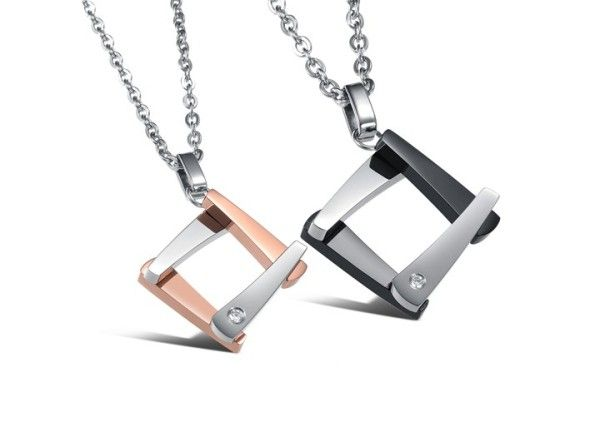 $25,62 Exclusive pair stainless steel pendant + necklace pairing for lovers. Exclusive pairing stainless steel pendant + necklace combination for lovers. BEST PRICE: Directly in the jewelry factory. VAT-free shopping: Available, partners based in the European Union, only applies to EU tax identification number (UID). Exclusive design pairing stainless steel pendant & necklaces for couples and lovers.