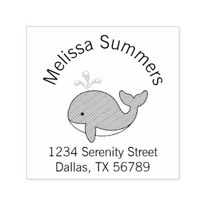 Cartoon Whale Address Self-inking Stamp - animal gift ideas animals and pets diy customize