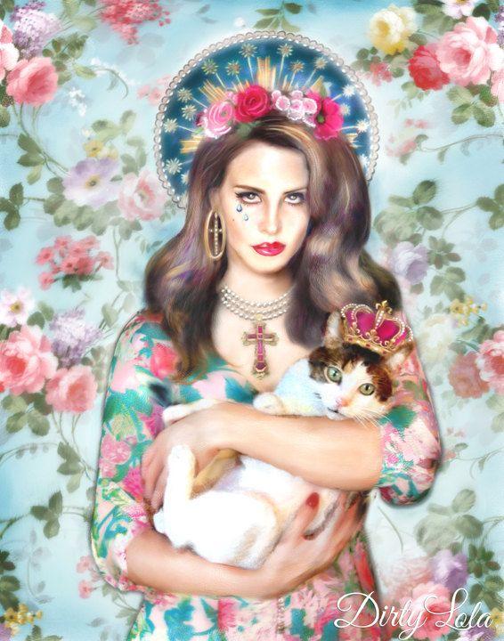 Lana Del Rey-Portrait-Illustration-Art Print-Drawing-Virgin Mary-Saint-Virgin-Cat Art