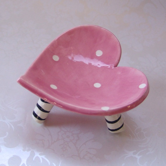 ceramic heart dish  pink polkadots with striped legs