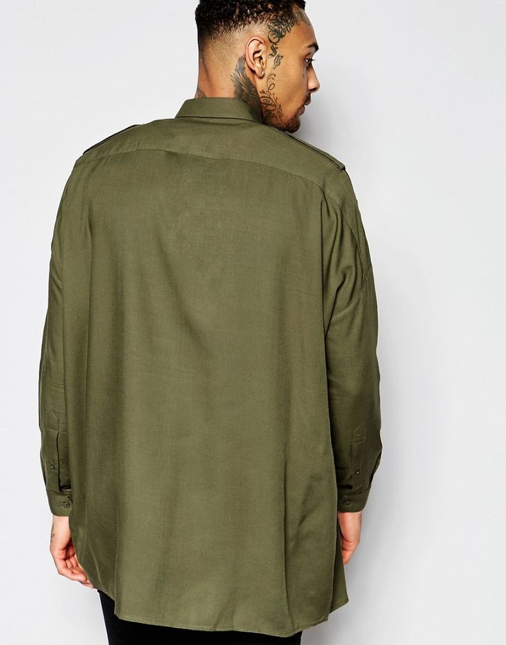 Image 2 of ASOS Military Shirt In Khaki With Drop Shoulder And Epaulette Details