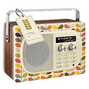 Gorgeous retro radio set. Orla Kiely design. Absolutely love this...and despite the old-fashioned look, its actually a DAB radio!
