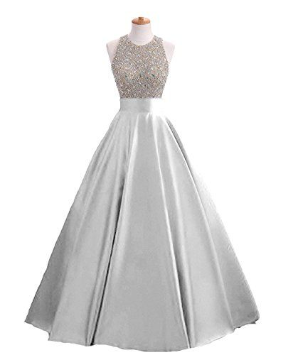 HEIMO Women s Sequins Keyhole Back Evening Ball Gown Beaded Prom Formal  Dresses Long H095 6 Silver 86e3e8ee6461