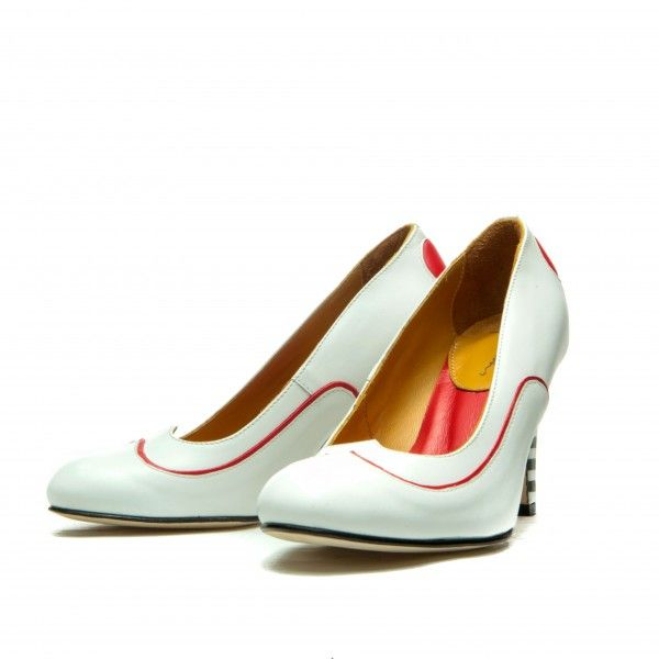 Full leather upper, lining and sole. White calf leather and red sheep leather  Black&White striped heel.  Covered heel measures approximately 85 mm/ 3.3 Inches  Heart shape cut vamp  Rounded toe, handmade  Slip on  Size: 36, 37, 38, 39, 40, 41 EU size