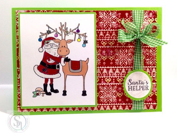 A5 Tent Fold Card made using Crafter's Companion Nordic Christmas 'Santa's Helper' rubber stamp coloured using Spectrum Noir Spring/Summer Sparkle Pens Designed by Kim Wilkin #crafterscompanion