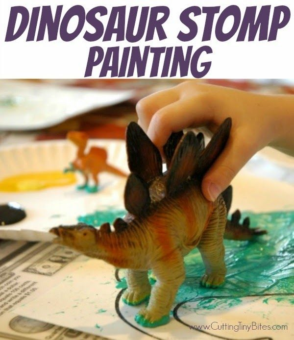 DInosaur Stomp Painting.  Fun process art project for toddlers, preschoolers, and elementary aged children.  EASY craft to use during a dinosaur theme week.