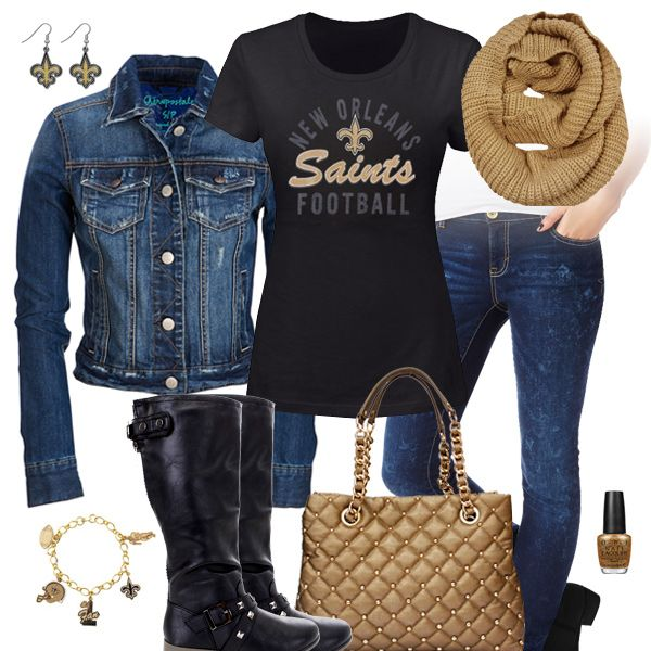 cd5abab7ef8 New Orleans Saints Jean Jacket Outfit