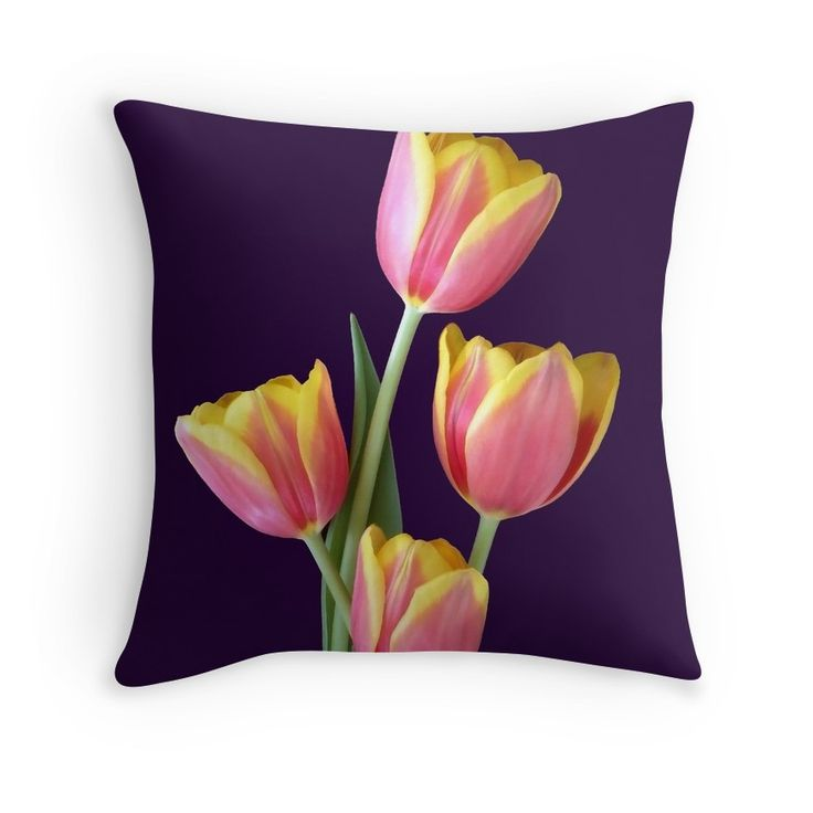 Four Tulips On Purple Pillow for yourself or your friend... a great gifti idea... Johanna Hurmerinta design