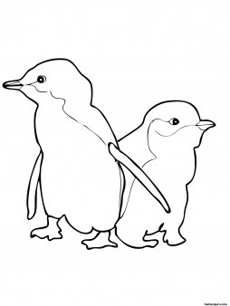 Printable Two Little Blue Penguins coloring pages for kids - Printable Coloring Pages For Kids