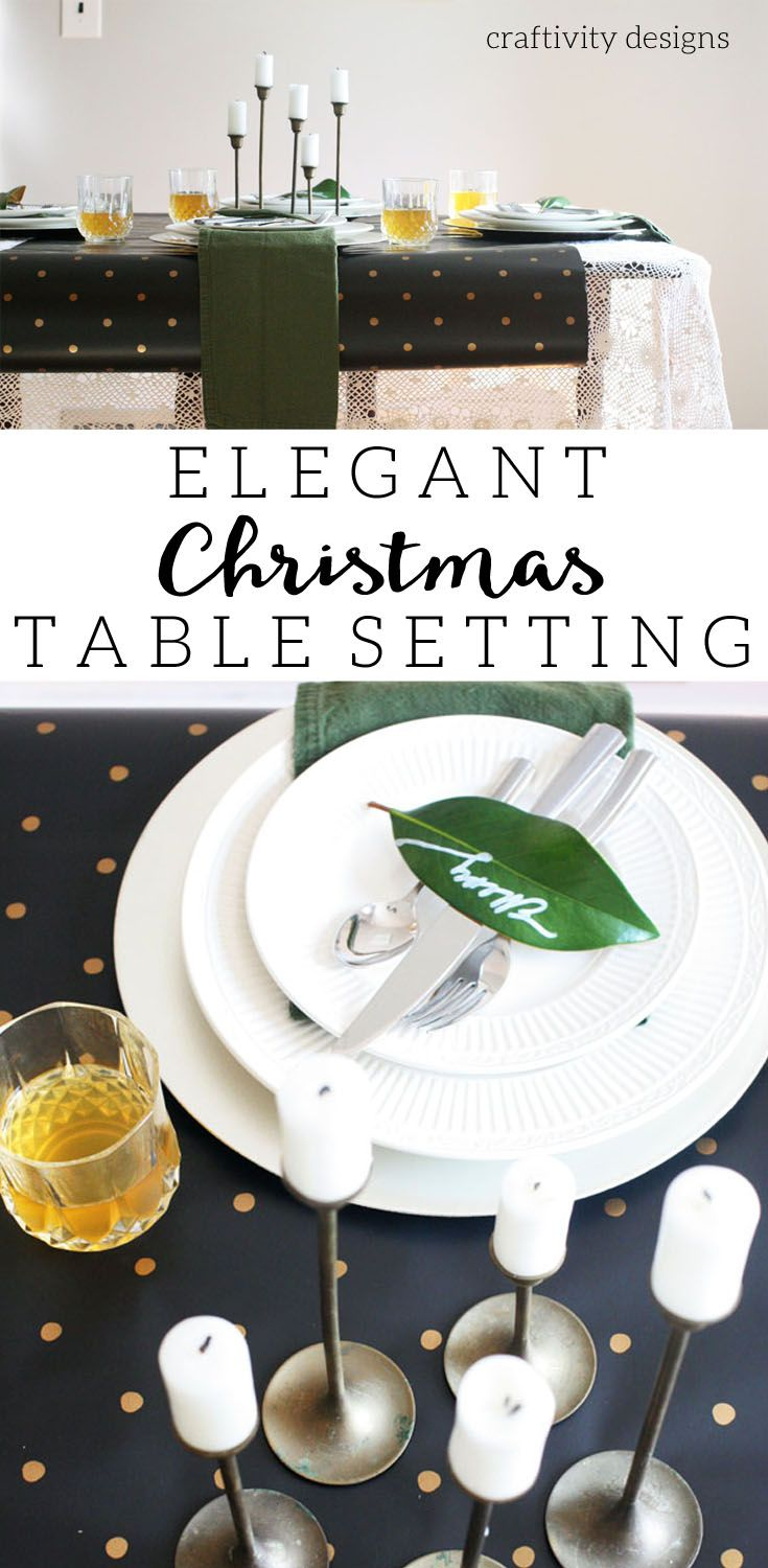Elegant Christmas Table Setting with Black, Gold, Lace by @CraftivityD