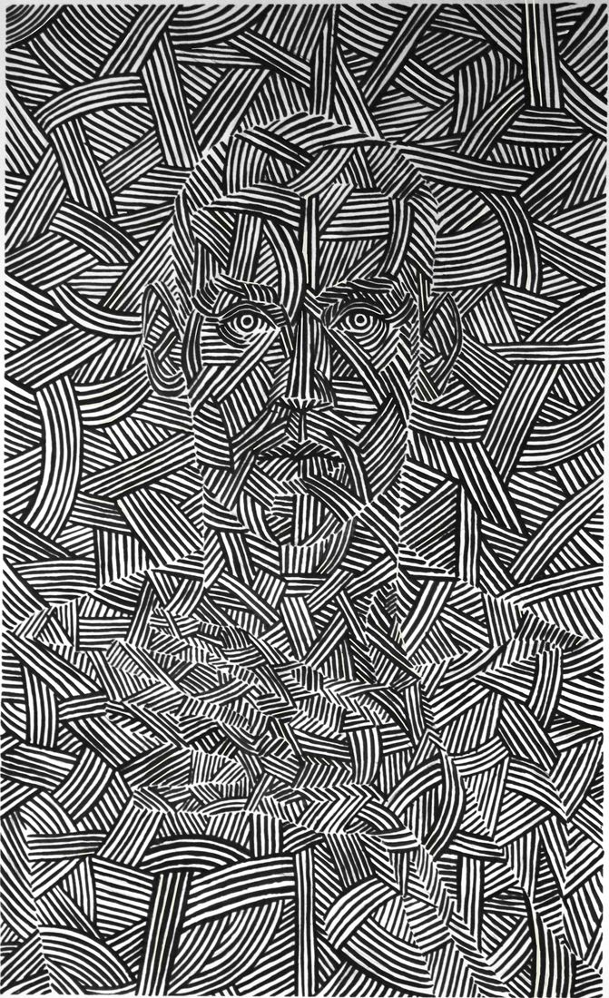 Self portrait ~ artist Filip Peraić, c.2011; india ink on paper. 45x80cm  #doodle
