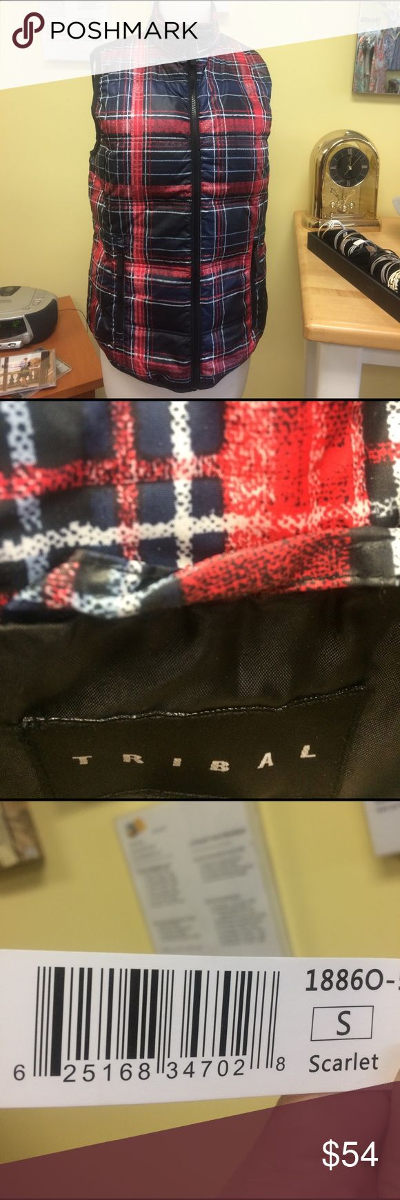 NWT Retail. Our Down vest by Tribal Sportswear NWT Retail. Our down vest for Tribal Sportswear of Canada. Print name: scarlet plaid.  A contemporary take on plaid who love a good trend that works ! Zip front pockets. Machine wash cold.  Regularly priced at $128. Often priced higher in ski locations. Tribal Sportswear of Canada Jackets & Coats Vests