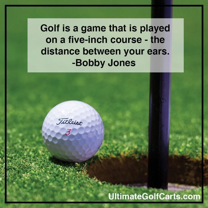 Golf is game that is played on a 5-inch course - the distance between your ears… Visit us at Smallrocks.net for phone #golf art and clothing #golftips