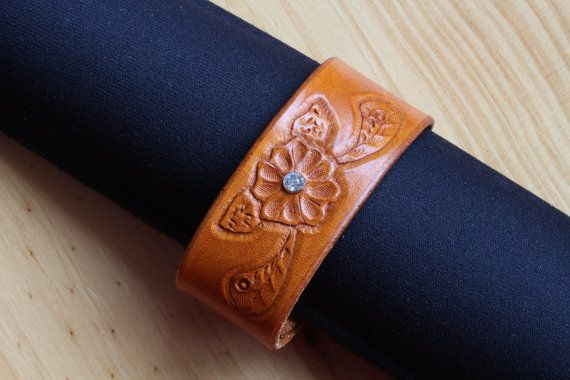 Hand Carved Crystal Leather Bracelet by Tina's Leather Crafts on Etsy.com.  Repin To Remember.