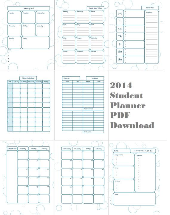 2014 student planner printable. Complete with daily planner, meal planner, class schedule pages, and more!