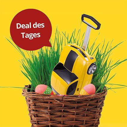 """+++ DEAL DES TAGES +++  Oster-Kracher!  Unser """"For Kids"""" - #Kinderkoffer #Rennauto (Hartschale Gelb glänzend, 49 cm, 18 Liter) gibt es jetzt zu Ostern für nur 71,40 €!   Da kann der Osterhase kommen!  Hier geht's zum #Deal: https://hauptstadtkoffer.de/de/for-kids-kinderkoffer-rennauto-hartschale-gelb-glanzend-49-cm-18-liter  #Hauptstadtkoffer #Koffer #Urlaub #Ostern #Reise #Schnäppchen #Rabatt"""