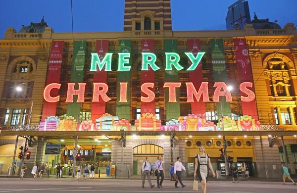 Flinders Street Station, in Melbourne, Australia, lit up for Christmas