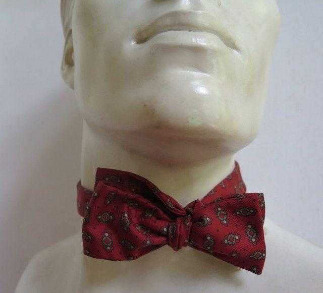 Men's Silk Bow Tie//Vintage Silk Bow Tie// Silk Bow Tie by Waitingforgeorge on Etsy