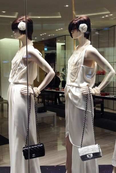 Chanel ladies in shopping window Dubai Mall of the Emirates!
