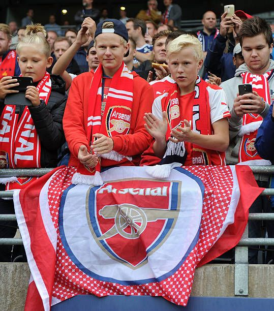 Young Arsenal soccer fans