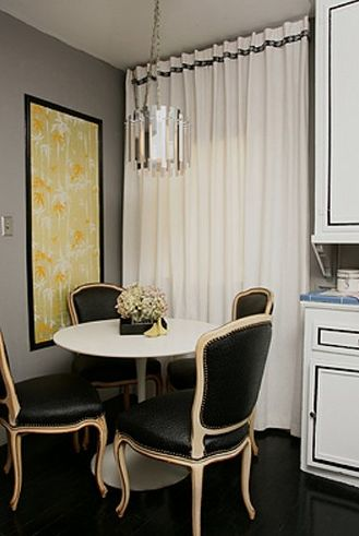 dining rooms - gray walls marble Saarinen table black leather nailhead trim French chairs white drapes yellow art glossy espresso wood floors: Dining Rooms, Vargas, Decor Ideas, House Ideas, Chairs, Decorating Ideas, Kitchen Table, Small Spaces, Small Kitchen