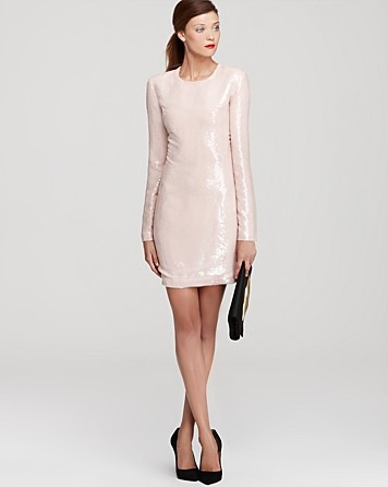 Neutral sequin dress. This pale pink/nude is a great alternative to the classic black sequin dress!