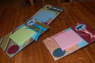 Blog post at A Bird and a Bean : Need an easy last minute gift idea? I made Lucie's teachers each a fun bag of goodies.  One of those goodies was a personalized post-it hold[..]