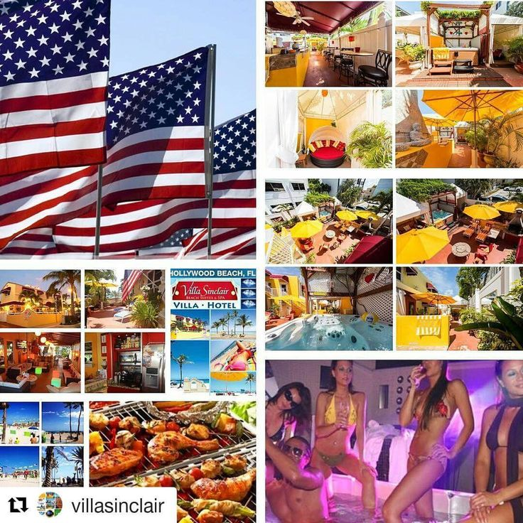 "Credit to #villasinclair  ・・・ Happy Memorial Weekend! ❤❤❤❤❤❤  Villa Sinclair Beach Lounge Voted ""BEST Hollywood Beach Lounge BBQ Party Place""  6,000 SF of Private Tropical Beach Lounge 100 feet from the Beach & Unique Broadwalk w/ 4 BBQs-Full Equipped Outdoor Kitchen-Catering Available-9 Beachside Cabanas-3 DayBeds-Luxury Bathroom-FREE Bikes Rental-Beach Toys-Luxury Beach Towels & Beach Chairs-Covered Cafe-3 Fire Places-5 Fans-Summer COOL TUB at 93 degrees-2 Outdoor…"