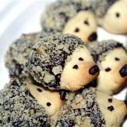 Hedgehog Shortbread Cookies with Chocolate + Walnut