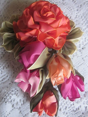 "Vintage Style French Ombre Millinery Ribbon work Flower Pin~5"" x 6"" ~Rose Buds 