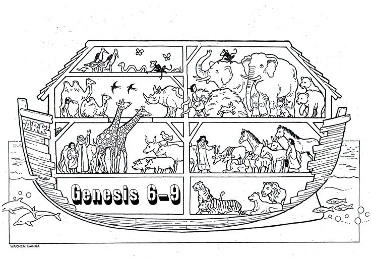 Coloring page of paired animals on Noah's ark